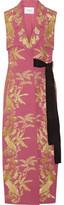 Erdem Rian Metallic-embroidered Crepe Vest - Pink