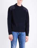 Sandro Contrast-patch ribbed wool-blend jumper