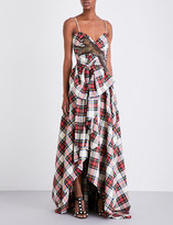 Gucci Embellished wool-tartan gown
