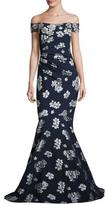 Badgley Mischka Ruched Off-the-Shoulder Floral Ponte Gown, Blue/Silver