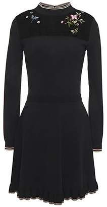 RED Valentino Point D'esprit-paneled Embroidered Stretch-knit Mini Dress