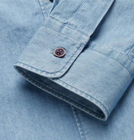 Altea Regent Penny-Collar Cotton-Chambray Shirt