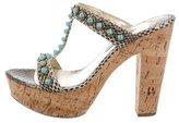 Prada Embellished Snakeskin Sandals