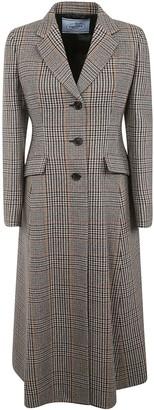 Prada Single-breasted Checked Coat