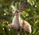 Pottery Barn Oversized Wood Bark Deer Ornament