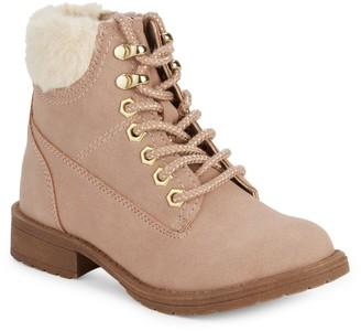 Steve Madden Girl's Jalps Faux Fur-Trim Faux Suede Boots