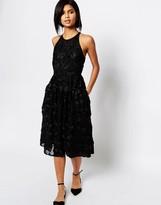 Whistles Applique Textured Midi Dress in Black