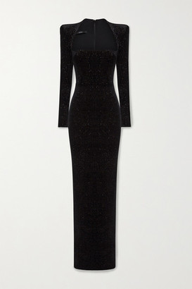 Alex Perry Houston Glittered Velvet Gown - Black