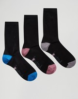 Lovestruck 3 Pack Plain Socks With Color Block Heel And Toe