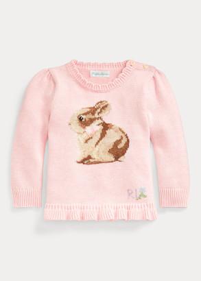 Ralph Lauren Ruffle-Hem Bunny Sweater