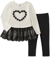Kids Headquarters White & Black Heart Peplum Tunic & Leggings - Toddler & Girls