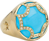Elizabeth Showers Maltese Diamond Turquoise Ring, Size 7
