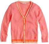 J.Crew Girls' tipped neon V-neck cardigan