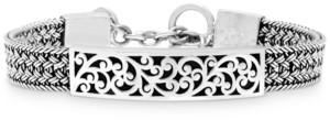Lois Hill Carved Filigree Bar Woven Bracelet in Sterling Silver