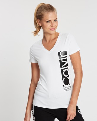 Calvin Klein Vertical Box Logo Short Sleeve V-Neck Tee