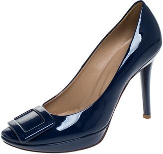 Roger Vivier Blue Patent Leather Belle Trompette Pumps Size 37.5