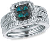 Zales 1-1/2 CT. T.W. Quad Princess-Cut Enhanced Blue and White Diamond Frame Bridal Set in 14K White Gold - Size 7
