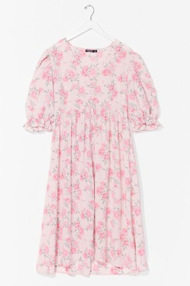 Nasty Gal Womens Bud Thing Going On Plus Floral Midi Dress - Pink