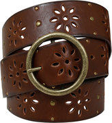 Yours Clothing Brown Floral Cut Out Belt With Studs