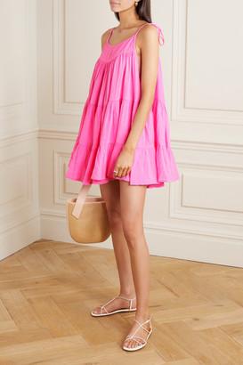 HONORINE Peri Tiered Neon Crinkled Cotton-gauze Mini Dress - Pink