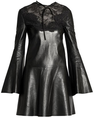 Valentino Lace-Trimmed Leather Dress