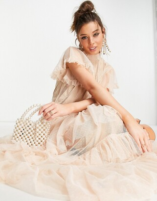 Forever U tiered midaxi dress in blush