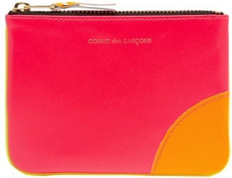 Comme des Garcons Panelled Mini Leather Coin Purse - Womens - Pink Multi