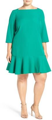 Brinker & Eliza Long Sleeve Flounce Dress (Plus Size)