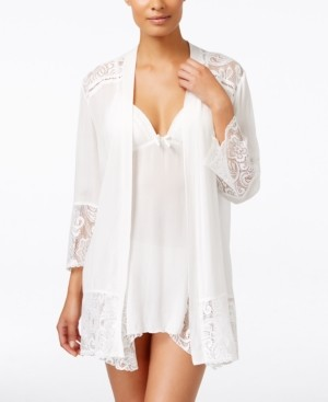 Linea Donatella Flower Child Sheer Lace-Trim Kimono Robe