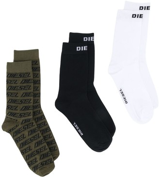 Diesel Three-Pack Logo Socks