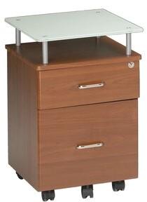 Symple Stuff Upper Strode 2-Drawer Mobile Vertical Filing Cabinet Color: Medium Cherry / White