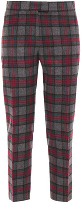 Paul Smith Cropped Checked Wool-blend Felt Straight-leg Pants
