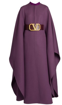 Valentino Double Worsted Wool Long Belted Cape Coat
