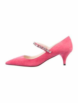 Prada Suede Crystal Embellishments Pumps w/ Tags Pink