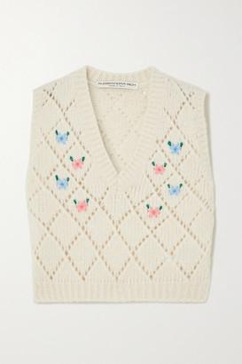 Alessandra Rich Embroidered Pointelle-knit Alpaca-blend Vest - Ivory