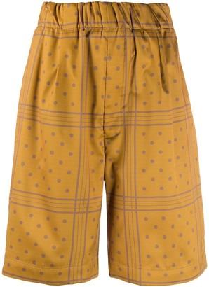 Jejia Polka-Dot Print High-Rise Wide-Leg Satin Shorts