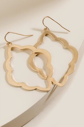 francesca's Allison Scalloped Drop Earrings - Gold