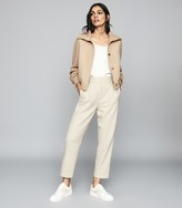 Reiss IRIS Cropped Knitted Bomber Jacket Neutral