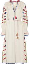 Ulla Johnson Natalia Crochet-trimmed Embroidered Silk-noil Midi Dress - Ecru