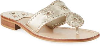Jack Rogers Whipstitched Leather Slide Sandals