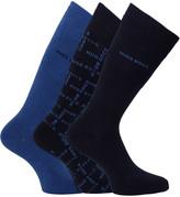 Boss Three Pairs Dark Blue Logo Design Socks
