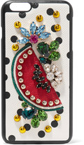 Dolce & Gabbana Embellished Printed Textured-leather Iphone 7 Plus Case - White