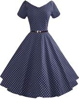 LUOUSE Women's Vintage 3/4 Sleeve Swing Pinup Picnic Cocktail Party Tea Dress