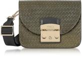 Furla Salvia Woven Leather Metropolis Gilda Mini Crossbody Bag