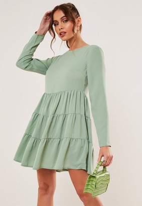 Missguided Mint Chiffon Tiered Smock Dress