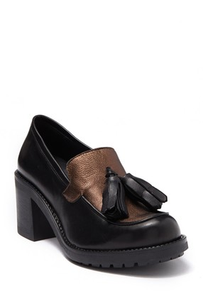 Tosca Pila Leather Block Heel Loafer