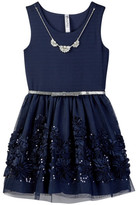 Beautees Belted Dress & Necklace Set (Big Girls)