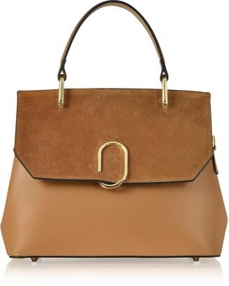 Le Parmentier Thais Suede and Leather Satchel Bag