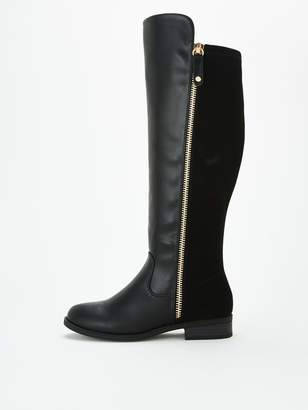 Very Tilly Wide Fit Stretch Back Zip Knee Boots - Black