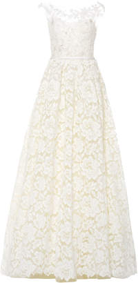 Mira Zwillinger Emily Floral-Appliqued Lace Gown